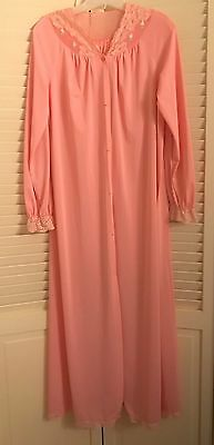 Shadowline Women's All Nylon Robe W/lace Size Small Pink