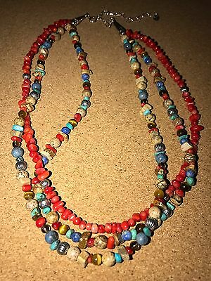 �� Carolyn Pollack Sterling Silver Three Strand Natural Stone Necklace ��