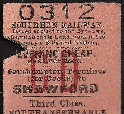 EDMONDSON HALF TICKET S.Rail SOUTHAMPTON to SHAWFORD Evening  Cheap ticket?1960