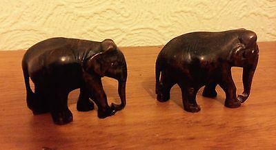 Set Of Two Small Hand Carved Wooden Elephants