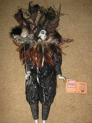 """Kingstate 18"""" Hand Painted, Hand Sewn Dress Porcelain Clown Doll, Peacock Lady"""