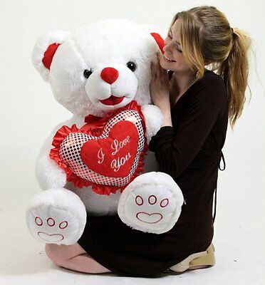 Big Plush Large Stuffed White Teddy Bear with Big Foot Paws and I Love You Heart