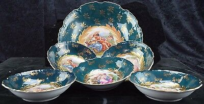 Antique Victoria Carlsbad Austria Berry Bowl Set Signed Kaufmann And Other