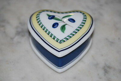 Vintage German Hutschenreuther Medley Heart Shape Blue And Yellow Porcelain Box