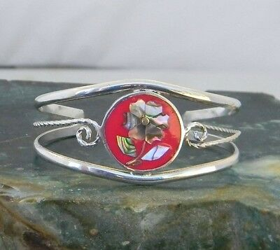 Mexico Vintage Alpaca Silver Petite Red Cuff Bracelet Abalone Shell Inlay