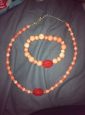 Chinese Pink Faux Moonstone Beaded Bracelet & Necklace Fashion Jewellery