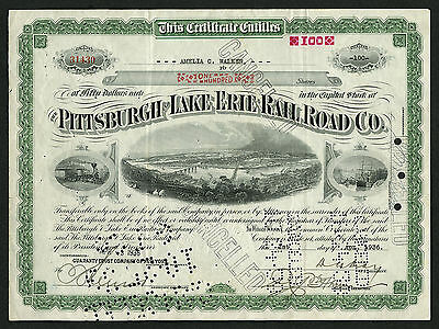Pittsburgh & Lake Erie Rail Road Co stock certificate, 1936, #31430