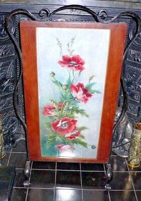 Art Nouveau / Arts & Crafts Fire Screen Decorated W Hand-Painted Poppies