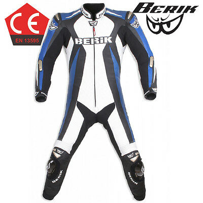 Berik Speed CE Race Motorcycle 1pc Leather Suit Blue White Road Bike