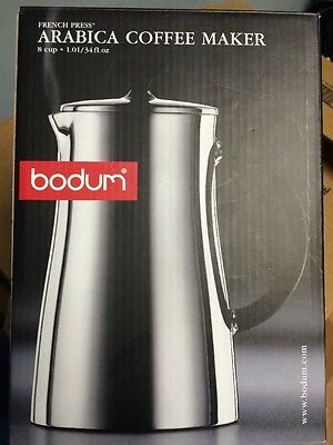 New Bodum Arabica Coffee Maker 8 Cup Stainless French Press