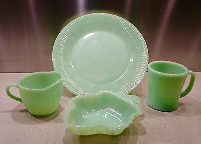 Vintage 4 Pieces of Fire King Jadeite Plate, Leaf Dish, Coffee Mug and Creamer