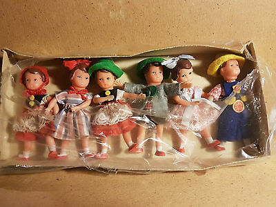 """German set of 6 rubber dolls in original box  3 1/4"""" with paper stickers"""