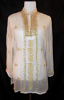 Anne Carson Women's Ivory 100% Silk Sheer Tunic with Gold Thread and Sequin Work