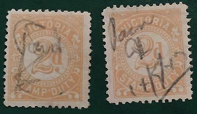 2d Victoria Yellow Stamp Duty X 2