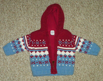 Baby Gap Size 12-18 Months Heavy Hooded Jacket Blue Red White