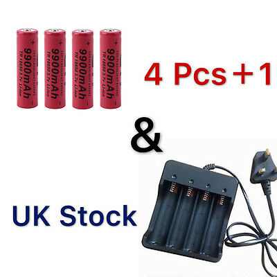 4x 18650 9800mAh Li-ion 3.7V  Rechargeable Battery Charger Indicator Flashlight