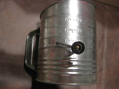 BB: ANTIQUE METAL SIFTER w/ RARE WOOD HANDLE