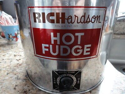 Vintage! Richardson HOT FUDGE HAND PUMP DISPENSOR STAINLESS STEEL ELECTRIC
