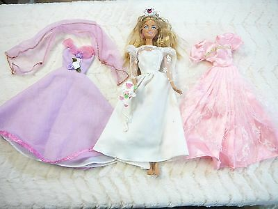 Barbie Doll + Wedding Dress + Crown+ Princess  Ball Gown Barbie Doll Dresses