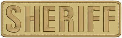 sheriff embroidery patch  3x10 hook on back tan /brown