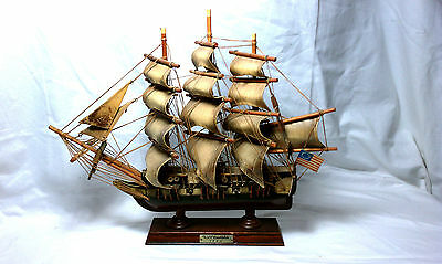 Vintage Uss Constitution Wooden Model Ship American Historic Saling Boat 1814
