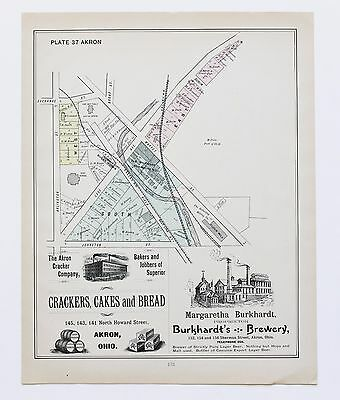 1891 East Akron Ohio Map 6th Ward Valley Railroad Plat Property Owners ORIGINAL