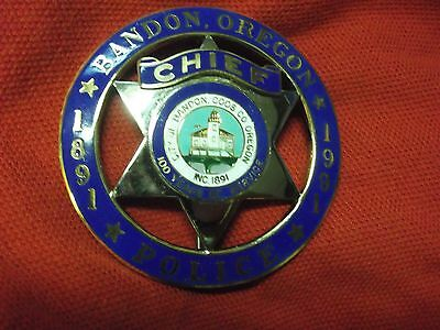 Obsolete Bandon, Oregon Chief Police Badge Hallmarked Tci