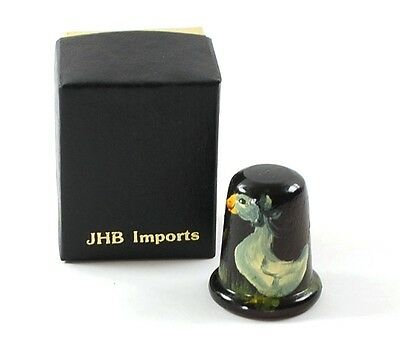 Vintage Hand Painted Goose Wooden Thimble Wood Signed JHB Imports Box