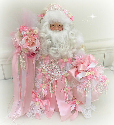 Shabby Pink roses chic Santa Claus figure doll Christmas tree topper