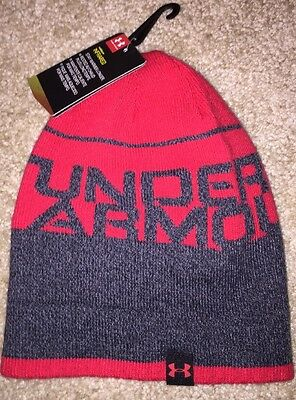 NWT Under Armour ColdGear Infrared Beanie Hat Boys Youth M 4-7 Years Red Gray