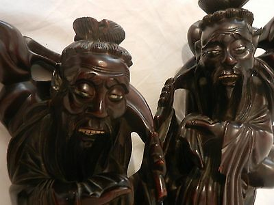 Large  Pair Circa 1860 Chinese/Japanese Fine Carved Rootwood Immortal Figures