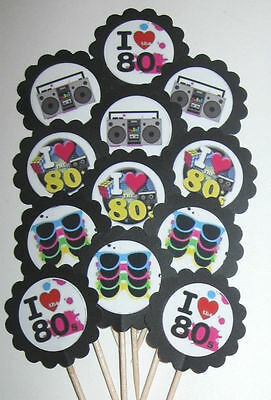80's Decade  Cupcake Toppers/Party Picks  Item #902 Party