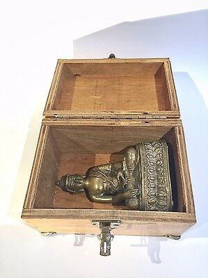 Antique Early Bronze Figure of Buddha Statue in Original Fitted Old Wood Box