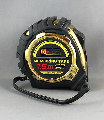 Measuring Tape 7.5M (25Ft) Rubber W/rubber Grip, Lock/slow Release, Big Numbers