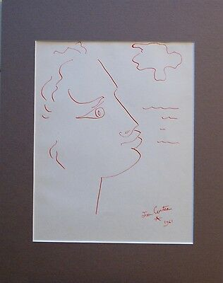 Jean Cocteau, Profile Drawing, Red Ink on Paper, Signed