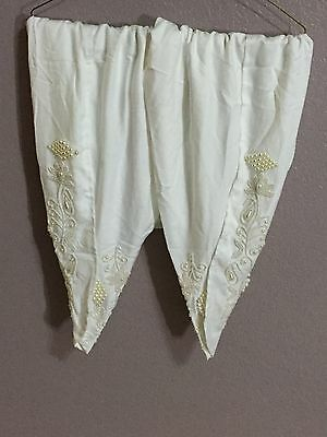 Pakistani/Indian Tulip Shalwar Trousers  Bhoski Linen White Fancy Eid Collection