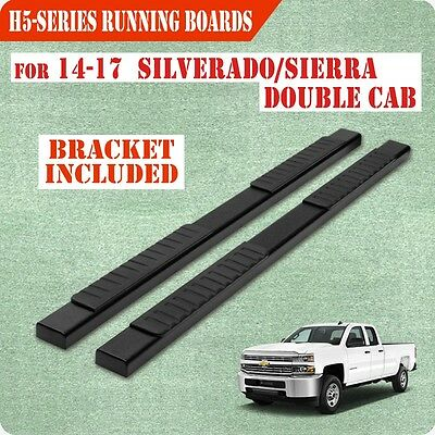 """Fit 07-18 Chevy Silverado Double Cab 5"""" Running Boards Side Step Side Bar Black"""