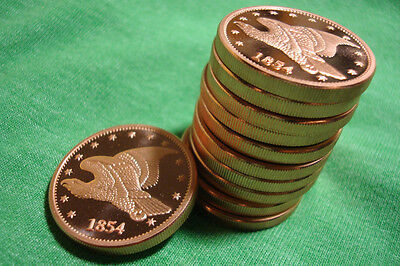 Lot of 10 - 1854 Flying Eagle Proof 2012 Grove Minting Commemorative Large Cent