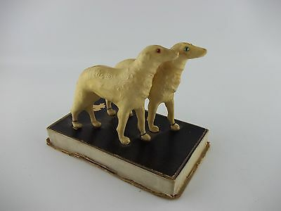 ANTIQUE Art Deco BORZOI CELLULOID Russian Wolfhounds Perfume Bottle Holders