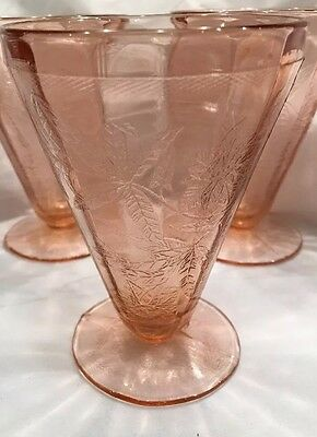 """Jeannette FLORAL/POINSETTIA PINK  4 5/8"""" FOOTED TUMBLER"""