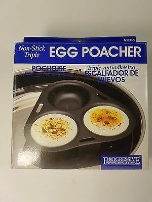 Progressive international Non Stick triple Egg Poacher NEW Breakfast Cookware