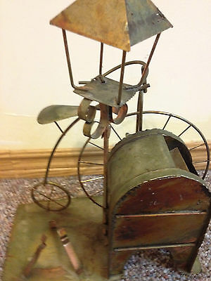 Vintage Copper Music Box, Mail Box, Light Post, Bicycle
