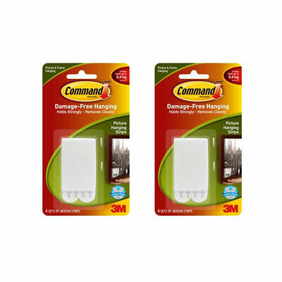 3M Command Medium Picture Hanging Strips White Self Adhesive (Qty 2) 2 x 4 Pack