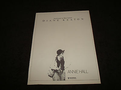 ANNIE HALL 1977 Oscar ad Diane Keaton with tennis racket, Woody Allen