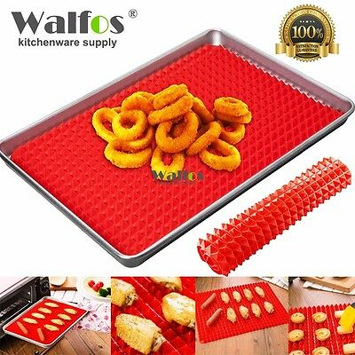 SALE !! Pyramid Fat Reducing Silicone Baking Tray Oven Pan Cooking Mat 40×28cm