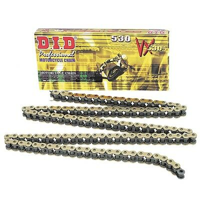 DID 530VX-120L X-Ring Motorcycle Chain 530 Pitch 120 Link - Gold - High Quality