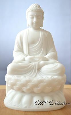 Unique White Marble Hand Carved Buddha Statue Buddhist meditation Altar Collecta