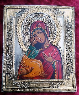 Old unique  silver orthodox hand painted icon of  the Feodorova Virgin Mary