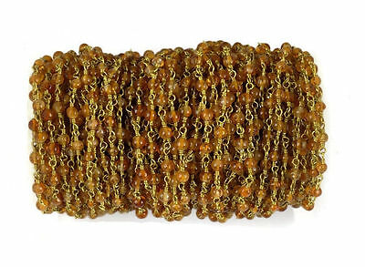 10 Feet Hessonite Smooth Rondelle Rosary Beaded Chain 24k Gold Plated 2.5-3mm