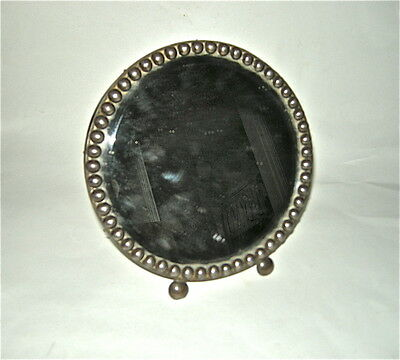 Mexico Silver Tabletop Beveled Mirror Antique w/stamp & labels, wood veneer back